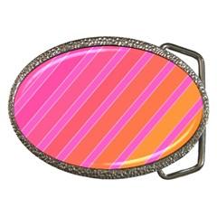 Pink elegant lines Belt Buckles
