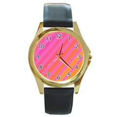 Pink elegant lines Round Gold Metal Watch