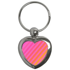 Pink elegant lines Key Chains (Heart)
