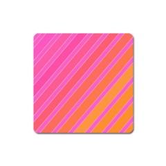Pink elegant lines Square Magnet
