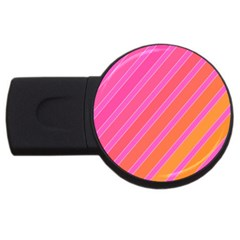 Pink elegant lines USB Flash Drive Round (2 GB)