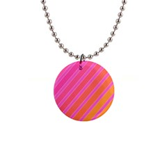 Pink elegant lines Button Necklaces
