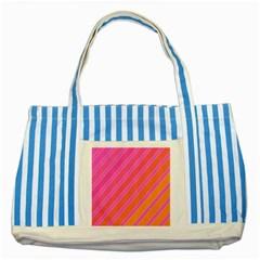 Pink elegant lines Striped Blue Tote Bag
