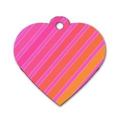Pink elegant lines Dog Tag Heart (One Side)