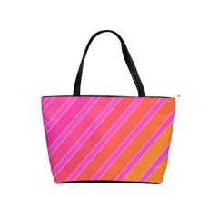 Pink elegant lines Shoulder Handbags
