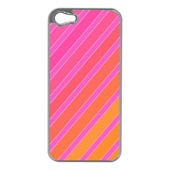 Pink elegant lines Apple iPhone 5 Case (Silver)
