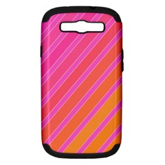 Pink Elegant Lines Samsung Galaxy S Iii Hardshell Case (pc+silicone)