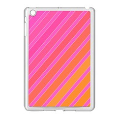 Pink elegant lines Apple iPad Mini Case (White)