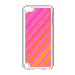 Pink elegant lines Apple iPod Touch 5 Case (White)