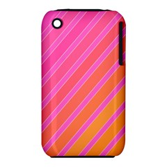 Pink Elegant Lines Apple Iphone 3g/3gs Hardshell Case (pc+silicone)
