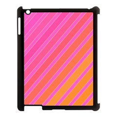 Pink elegant lines Apple iPad 3/4 Case (Black)