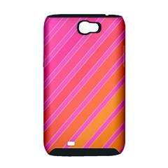 Pink elegant lines Samsung Galaxy Note 2 Hardshell Case (PC+Silicone)