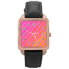 Pink elegant lines Rose Gold Leather Watch