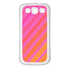 Pink elegant lines Samsung Galaxy S3 Back Case (White)