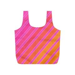Pink elegant lines Full Print Recycle Bags (S)