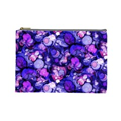 Blue Ink Rain on Glass Cosmetic Bag (Large)
