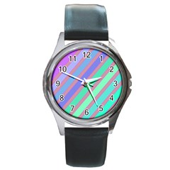 Pastel colorful lines Round Metal Watch
