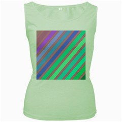 Pastel colorful lines Women s Green Tank Top