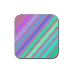 Pastel colorful lines Rubber Square Coaster (4 pack)