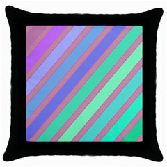 Pastel colorful lines Throw Pillow Case (Black)