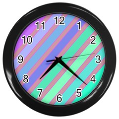 Pastel colorful lines Wall Clocks (Black)