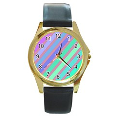 Pastel colorful lines Round Gold Metal Watch