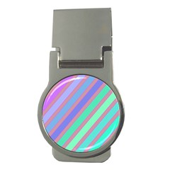 Pastel colorful lines Money Clips (Round)