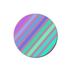Pastel colorful lines Rubber Coaster (Round)
