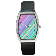 Pastel colorful lines Barrel Style Metal Watch