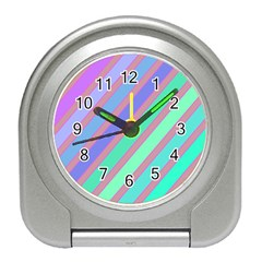 Pastel colorful lines Travel Alarm Clocks