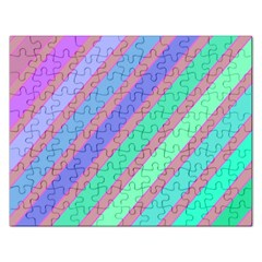 Pastel colorful lines Rectangular Jigsaw Puzzl