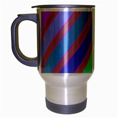 Pastel colorful lines Travel Mug (Silver Gray)