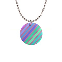 Pastel colorful lines Button Necklaces