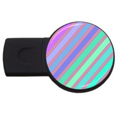 Pastel colorful lines USB Flash Drive Round (4 GB)