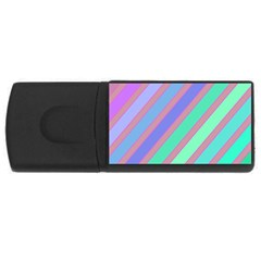 Pastel colorful lines USB Flash Drive Rectangular (4 GB)