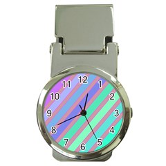 Pastel colorful lines Money Clip Watches