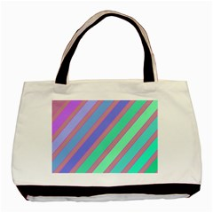 Pastel Colorful Lines Basic Tote Bag