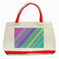 Pastel colorful lines Classic Tote Bag (Red)