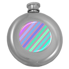 Pastel Colorful Lines Round Hip Flask (5 Oz)