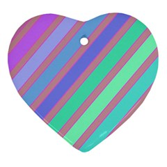 Pastel colorful lines Heart Ornament (2 Sides)