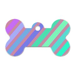 Pastel colorful lines Dog Tag Bone (One Side)