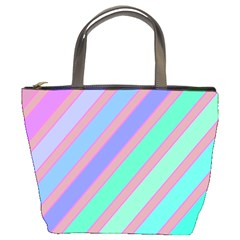 Pastel colorful lines Bucket Bags