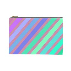 Pastel colorful lines Cosmetic Bag (Large)