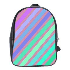Pastel colorful lines School Bags(Large)