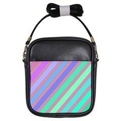 Pastel colorful lines Girls Sling Bags