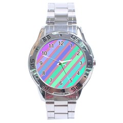 Pastel colorful lines Stainless Steel Analogue Watch