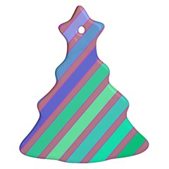 Pastel Colorful Lines Christmas Tree Ornament (2 Sides)