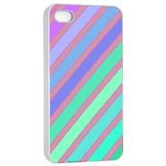Pastel colorful lines Apple iPhone 4/4s Seamless Case (White)