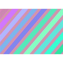 Pastel colorful lines Birthday Cake 3D Greeting Card (7x5)