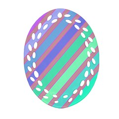 Pastel colorful lines Oval Filigree Ornament (2-Side)